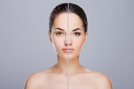 Vergleichsportrait mit und Make-up