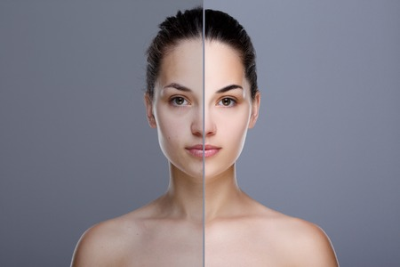 Comparison portrait with and without retouch Imagens