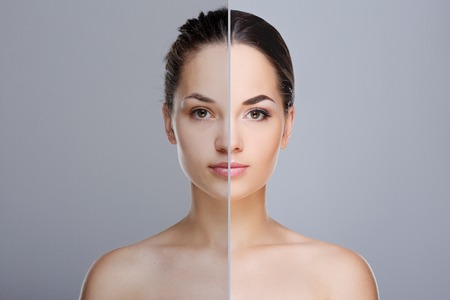 Comparison portrait with and without make-up