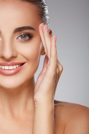 Beautiful girl with make up at studio Stock Photo