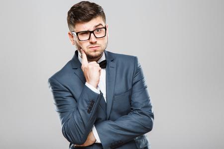 Uomo premuroso con gli occhiali Archivio Fotografico