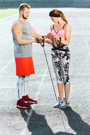 Sports coach and girl Stock Photo