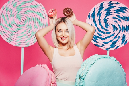 Attractive model with sweets