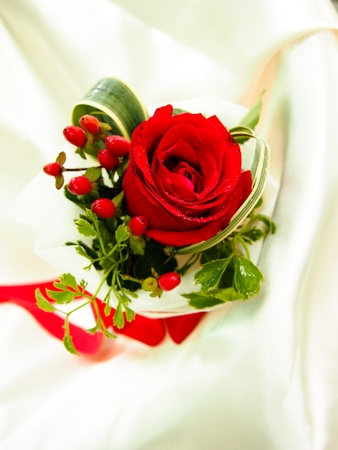 a Red Rose Bouquet with Red Ribbon Stock Photo - 11974205