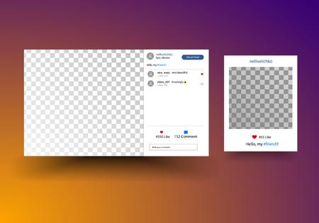Social network photo frame. Post template framework. Insert your picture. Vector illustration.
