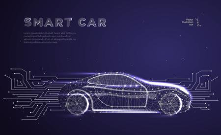 Vehículo autónomo con placa de circuito. Vector abstracto de un automóvil inteligente o inteligente en forma de cielo o espacio estrellado, que consiste en puntos, líneas, en forma de planetas, estrellas y el universo. Ilustración de vector