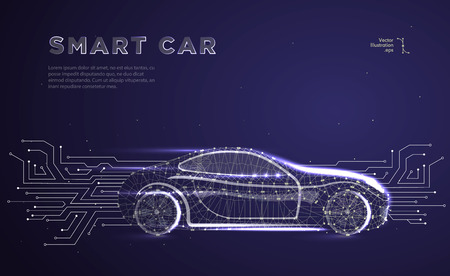 Autonomous car vehicle with circuit board.Abstract vector of a smart or intelligent car in the form of a starry sky or space, consisting of points, lines, in the form of planets,stars and the universe Vettoriali