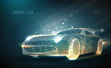 Imagen abstracta de un automóvil en forma de cielo o espacio estrellado, que consiste en puntos, líneas y formas en forma de planetas, estrellas y el universo. Negocio del vector