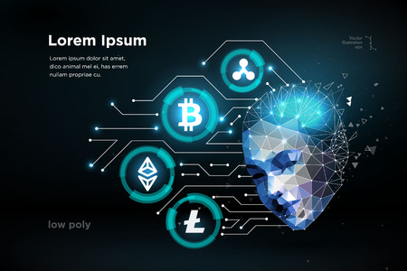 Ethereum Bitcoin Ripple coin digital cryptocurrency with human brain artifitial intellegence vector illustration. Big data information mining technology. Blue abstract web internet electronic payment vector illustration Illustration