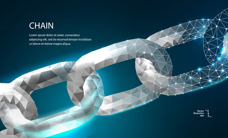 Chain. Blockchain link sign low poly design. Internet technology chain icon triangle polygonal hyperlink security business network concept. chain with polygon line on abstract background. Vector Illustration