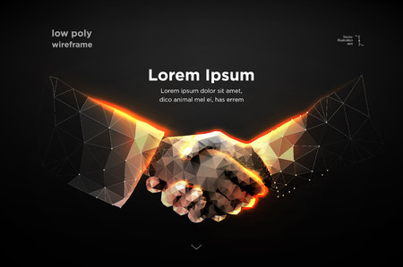 Abstract image two hands handshake in the form of a starry sky or space, consisting of points, lines, and shapes in the form of planets, stars and the universe. vector Futuristic concept. Blockchain Vettoriali