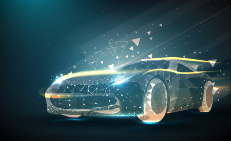 Abstract image of a auto in the form of a starry sky or space, consisting of points, lines, and shapes in the form of planets, stars and the universe. Vector business