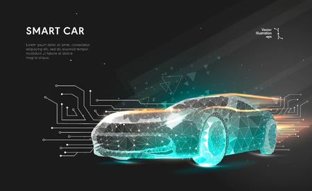 똑똑하거나 지능적인 자동차. 추상적 인 배경에 다각형 선으로 스포츠 자동차입니다. 점과 선을 연결하는 다각형 공간이 낮은 폴리. 연결 구조. 벡터 속도 개념 배경입니다.