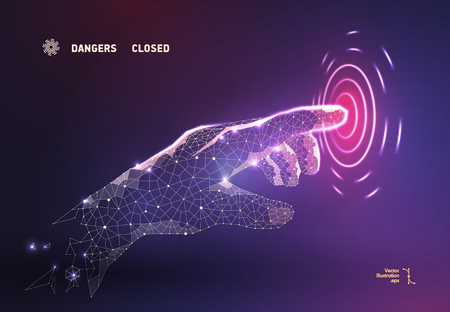 The abstract finger hand presses the button on the polygonal space, a geometric triangle. Light structure of the connection. Low poly vector background. Business concept