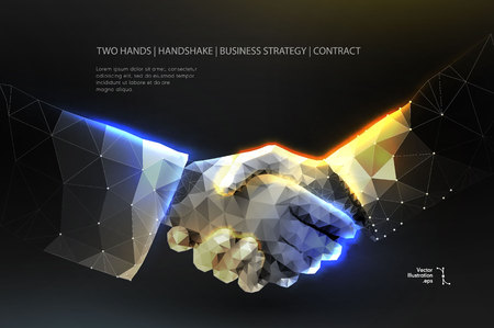Abstract image two hands handshake in the form of a starry sky or space, consisting of points, lines, and shapes in the form of planets, stars and the universe. vector Futuristic concept. Blockchain Illustration