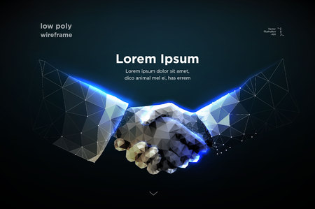 Abstract image two hands handshake in the form of a starry sky or space, consisting of points, lines, and shapes in the form of planets, stars and the universe. vector Futuristic concept. Blockchain Иллюстрация