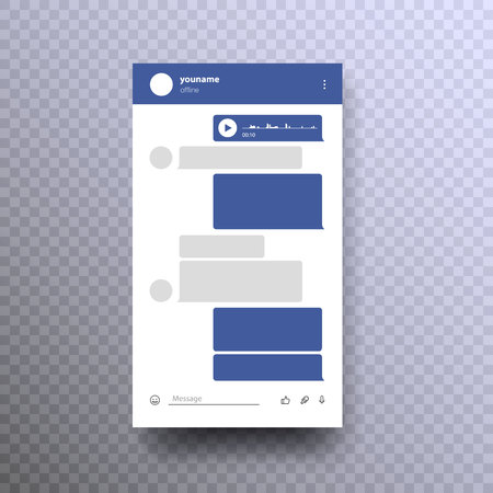 Messenger Mock up Template. Social network Messenger concept frame Vector illustration. Place your own text in the message boxes, messaging on mobile phones.