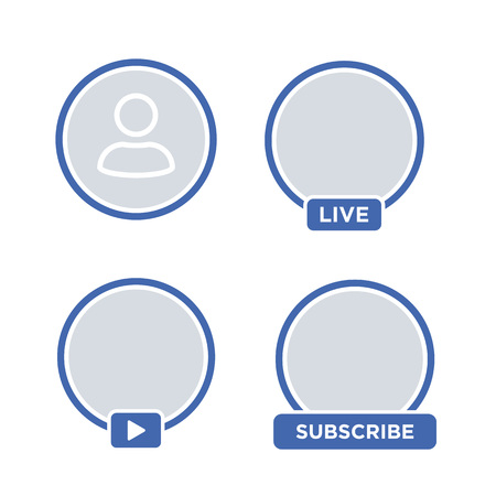 Social media icon avatar LIVE video streaming. Live video facebook button, symbol, sign. Social media, Insta user stream. Element for social network, web, mobile, ui, app. EPS 10 Vettoriali