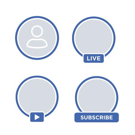 Social media icon avatar LIVE video streaming. Live video facebook button, symbol, sign. Social media, Insta user stream. Element for social network, web, mobile, ui, app. EPS 10 Vectores