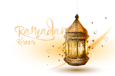 Ramadan Kareem Islamic greeting design Arabic pattern with lantern and calligraphy. Illustration