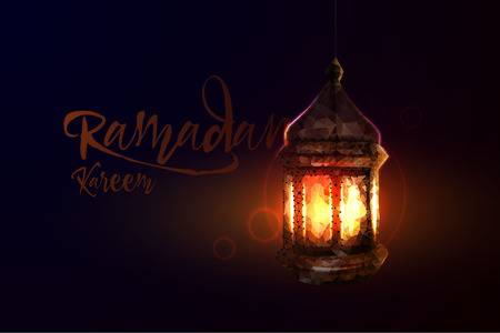 Ramadan Kareem islamic greeting design arabic pattern lantern and calligraphy Illustration