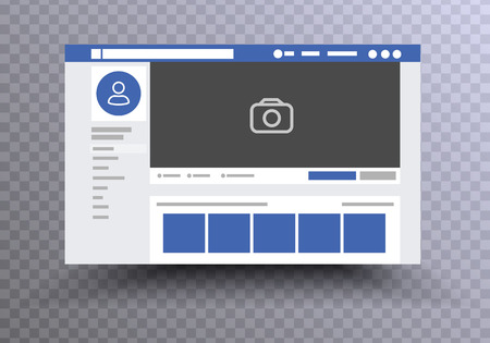 web page browser, concept of Social Page Interface on the laptop, social media vector illustration