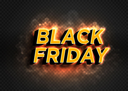 BLACK FRIDAY is hot and smoke. Burning text isolated on transparent background. Dark web banner for black Friday sale. Modern neon red billboard. Concept of advertising for seasonal offer. 3d vector Illustration