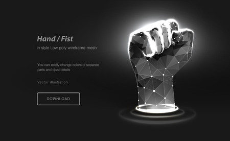 Fist low poly wireframe art on black background. Hand gesture of power or force.The concept protest or fight or strike. Success. Polygonal illustration with connected dots and polygon lines.3d Vector Illustration
