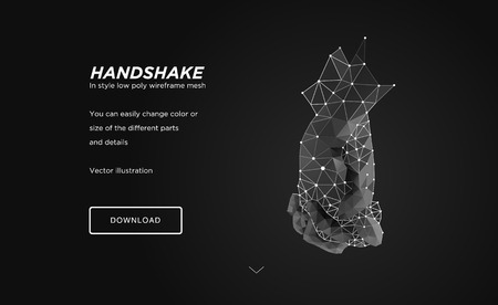 Handshake low poly wireframe art on black backgraund.Gesture of unity or union together.oncept of holograms of connected hands.Polygonal space low poly with connected dots and polygon lines.3D vector