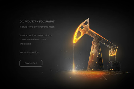 Oil pump low poly wireframe art on dark background. Oil industry equipment. Oil rig. Industrial equipment. Polygonal illustration with connected dots and polygon lines. 3D vector wireframe mesh 일러스트