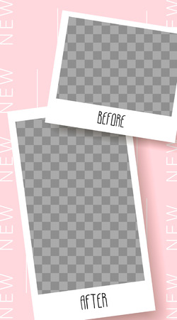Stories template. Before and After. Streaming. Mockup for photo isolated on transparent background Illustration