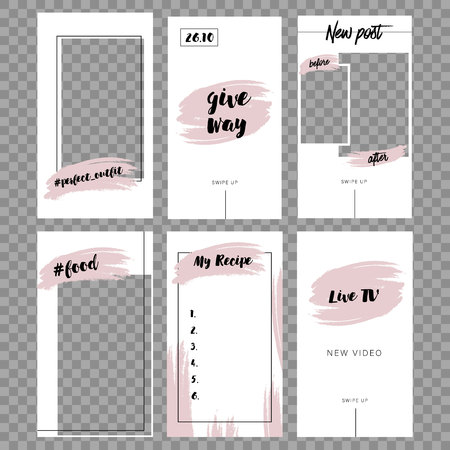 Stories template. Set photo frame. Streaming. Mockup for photo isolated on transparent background