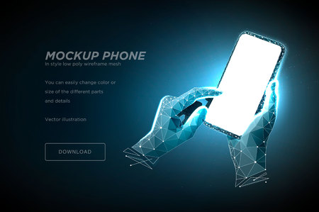 Mobile phone low poly wireframe art on dark blue background. Smartphone with blank white empty screen in holding man hand and fingers. Polygonal illustration with connected dots and lines. 3D vector Ilustração