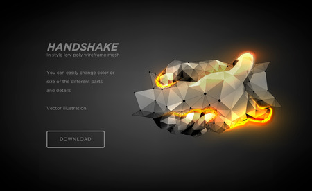 Handshake low poly wireframe art on black background. Hand gesture of help or support or energy or power.The concept of steel hands. Polygonal illustration with connected dots and polygon lines.Vector 일러스트