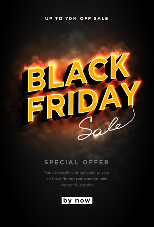 Banner Black friday is hot and smoke. Burning text isolated on black background. Dark web banner for black Friday sale. Modern neon red billboard. Concept of advertising for seasonal offer. 3d vector