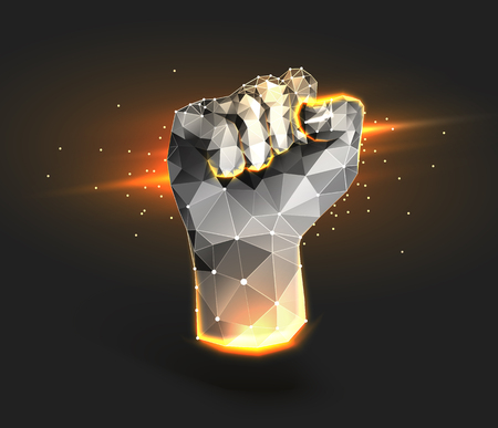 An abstract illustration of a fist consisting of dots, lines and figures. Polygonal mesh. The concept of a success, advancement,achievement, progress, Goal. Vector illustration for banner 일러스트