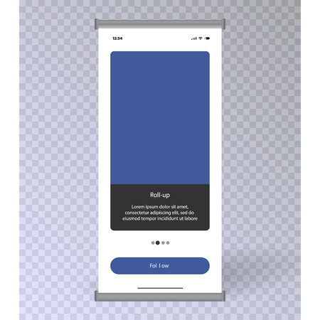 Blank Roll Up Banner Stand Group. Trade show booth based on social network. illustration isolated on transparent background. Template mockup for your profile. Application interface UI