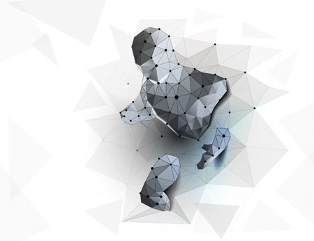 Cyber. Big data. Human exoskeleton. Polygonal futuristic design. Low poly wireframe mesh vector illustration