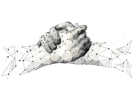 Ligne de purée abstraite et point origami de poignée de main fraternelle sur fond blanc. Accord Ciel ou espace étoilé, composé d'étoiles et de l'univers . Illustration commerciale de vecteur d'accord.