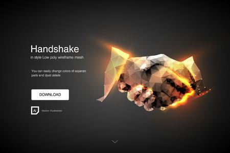 Händedruck. Geschäftsleute, die Handshake machen - Geschäftsetikette, Fusions- und Akquisitionskonzepte. Zusammenfassung des Geschäftshändedrucks. Polygonale Netzkunst. Wirkung der technologischen Innovation, Zukunft. Vektor Vektorgrafik