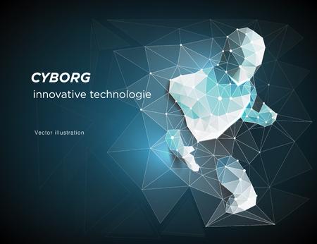 Cyborg. Robot. Un uomo che si è precipitato fuori dalla rete, la connessione di rete si è trasformata. Simboleggia il significato dell'intelligenza artificiale e dei big data. illustrazione vettoriale