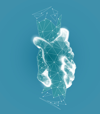 Handshake. Teamwork. Charitable Foundation. Contribution. Medicine. Help. Helping hand concept. Gesture, sign of help and hope. Two hands taking each other. Isolated vector low poly wireframe mesh