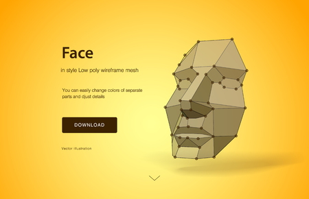 Concept of face scanning. Concept of face detection by scanning technology advancement, human head. Wire-frame abstract human face. Concept of 3d Face recognition. Vector illustration of the future Illustration