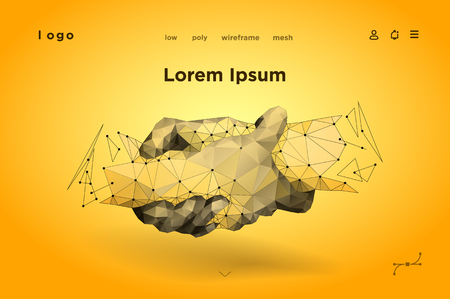 Handshake. Friendship day. Abstract handshake. Polygonal mesh. the effect of technological innovation, the future. Vector Illustration for banner