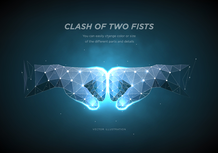 Clash of two fists. Low poly wireframe art on dark background.  The concept of conflict or resistance or competition or struggle. Polygonal illustration with connected dots and polygon lines. Vector Illustration