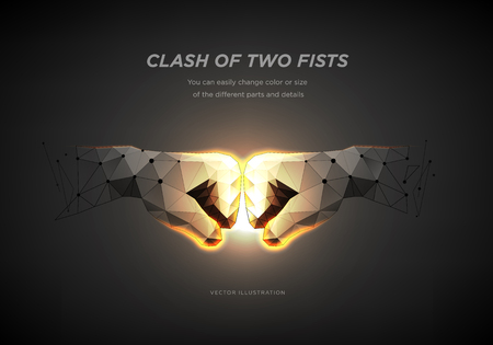 Fist to fist symbol. Low poly wireframe art on dark background. The concept of rivalry or competitors or team or partners. Polygonal illustration with connected dots and polygon lines. Vector