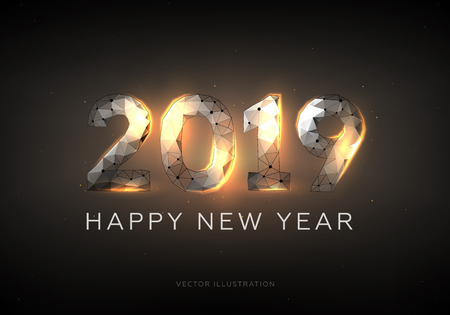 2019 text design. Happy New Year. Low poly wireframe art on dark background.  Polygonal illustration consisting of points and lines. Wire frame. Burning steel. Vector 3d