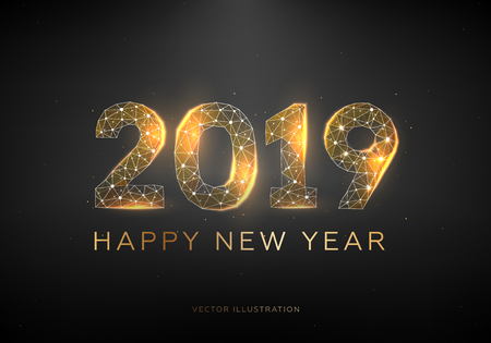 2019 gold text design. Low poly wireframe art on dark background. Happy New Year. Illustration in the form of a starry sky or space, consisting of points, lines, and shapes in the form of stars.Vector