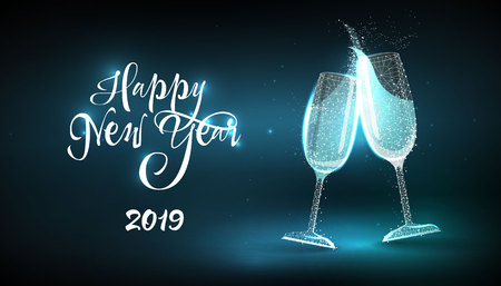 Happy New Year 2019. Glasses champagne in style Low poly wireframe on blue background. Banner or postcard. Effect Starry sky. Illustration with connected dots and lines. 3D vector wireframe mesh