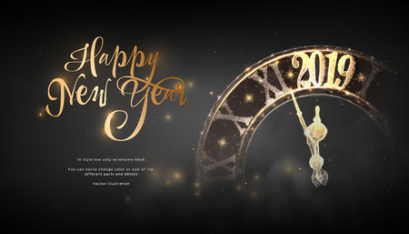 Happy New Year 2019. lock in style Low poly wireframe art on blackbackground. Concept for holiday or magic or miracle. Effect Starry sky. Polygonal illustration with connected dots and lines.Vector